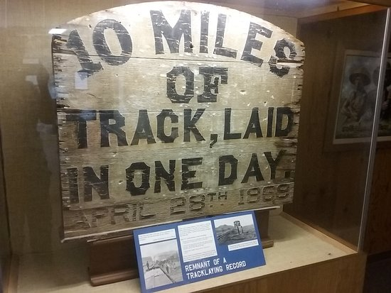 An exhibit at Golden Spike National Historic Site