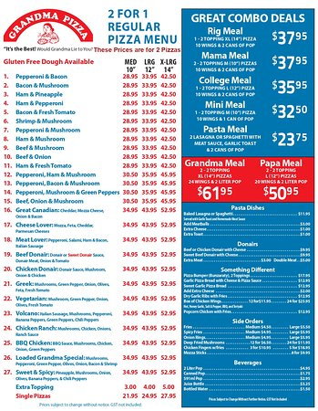 Fairview, แคนาดา: New Look of our Menu with the same prices