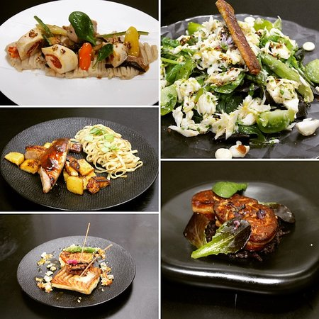 Restaurant le Cohe: foie gras poelé, canette fermière, poulet chorizo, etc