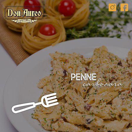 Um clássico da cozinha italiana, o com molho carbonara é feito com bacon, ovos e queijo parmesão.