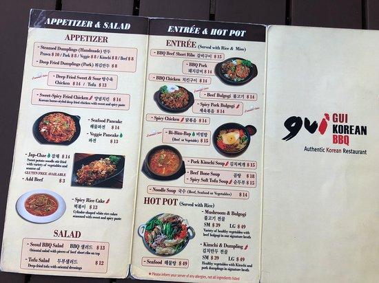 Gui Korean BBQ: menu