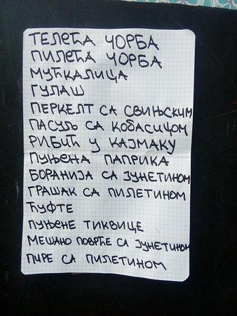 Sokobanja, Servië: Dnevni meni,kuvana jela