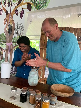Chocolate Experience in a Real Factory: Mixing the hot chocolate with the freshly ground beans - again Rigo is the cheering section!