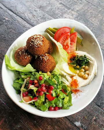 Veggies and vegans rejoice! The delicious Falafel Special! Featuring hummus, falafel, fattoush & pickles; and if you do find you're missing the carbs we can bring you a basket of our delicious comp pita! #yum