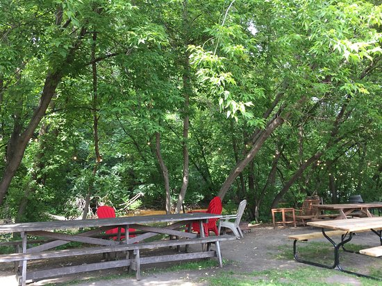 New London, MN: Can't find a more relaxing spot than MC's backyard seating.