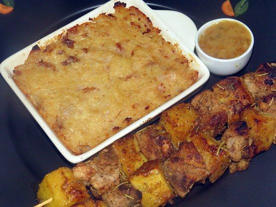 Creole Pork Kebab scalloped breadfruit  Brochette de porc ananas