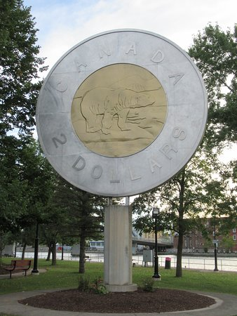 You will find this toonie in Campbellford, Ontario. It sits by the water and in a nice little park.