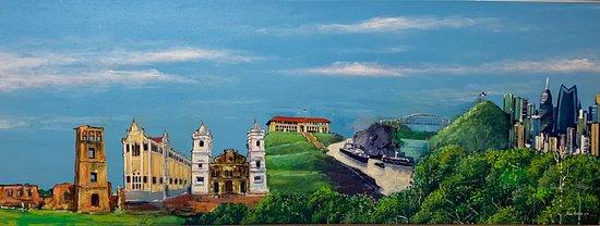 Perfil de la Ciudad de Panamá a través del tiempo. Obra de Enoc Rudas para Weil Art. #Panama #PANAMA500 #500años #500anosPanama #arte #art #panamaviejo #pty