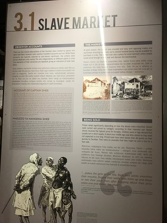 Old Slave Market/Anglican Cathedral: part of the information section that displays panels with information in English and Swahili