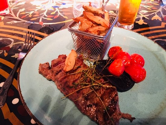 As You Like It: Sirloin Steak, vine tomatoes and chips