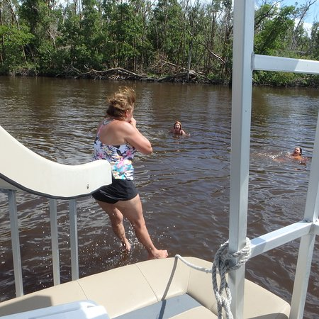 Sliding in fo a little #cooldown #docjimmyscureall #marcoisland #naplesflorida #naplesfl #ecotourism #boat #boattour #swimming