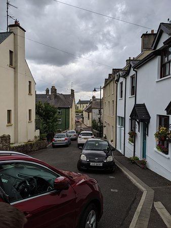 View of High Street, Pettigo, Northern Ireland from in front of Picturesque Village House