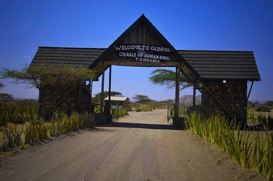 Ngorongoro Conservation Area, Tanzanie: Entrance gate to Olduvai Gorge