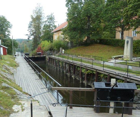 Ørje, Norge: Sluss i Haldenkanalen vid Örje