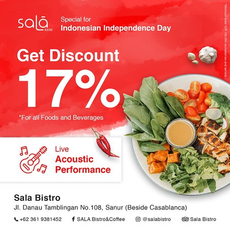 Special for Indonesian Independence Day, get disc 17% all item for minimum purchase IDR 100.000. come join us...