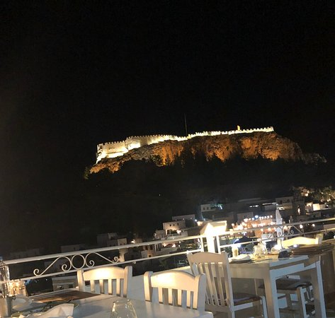 Lindos Castle - view from Mythos Aug 2019