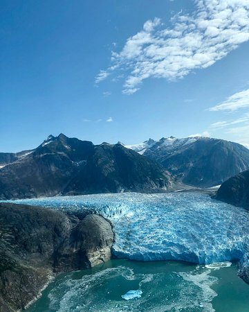Zach arranged for an air tour of LeConte Glacier after our visit by boat, and seeing it from both vantages was an experience of a lifetime.  And both times we saw major calving events!