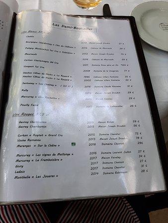 Restaurant Le Relais: Extrait Carte des Vins Demi bouteilles