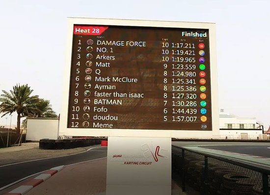 Sakhir, บาห์เรน: Another cool feature, as you complete a lap every driver can see their current lap time, and all drivers are ranked at the end of each heat.