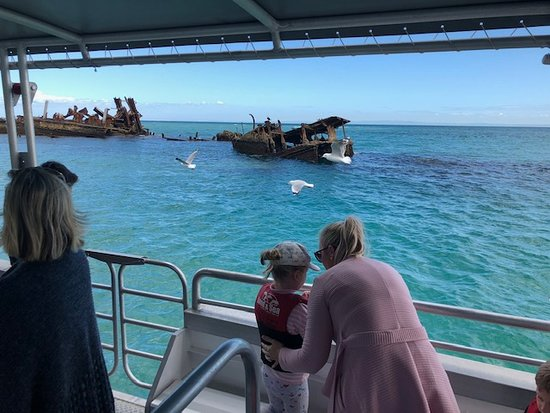 Moreton Island, Úc: Boat tours on crystal clear waters