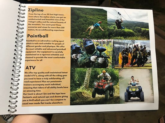 The catalogues for the Mountain view adventure park