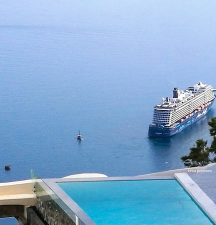 A view from the Don Pascal's rooftop restaurant. Mythical blue luxury suites.