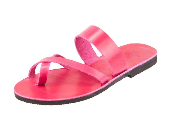 Parga, Grecja: Handmade Greek Leather sandals Iosif Fuchsia