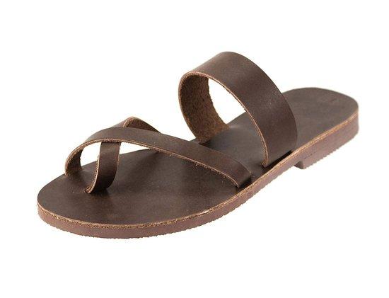 Parga, Grecja: Handmade Greek Leather sandals Iosif All Brown