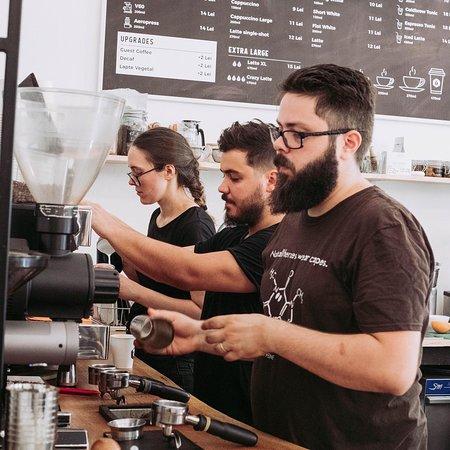 Ovride Team making coffee.