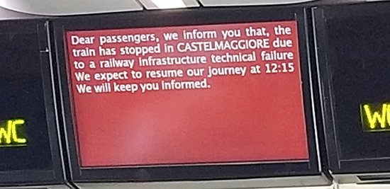 """Informational sign about our """"technical delay"""""""