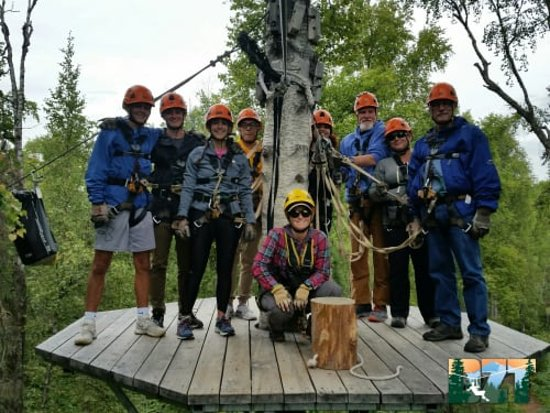 Denali Zipline Tour in Talkeetna: A hearty group of evening zipliners comprised of groups from east coast, Midwest, west coat and Alaska.  A great crew and terrific guides. JFS