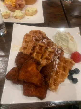 Chicken and Waffles with Amaretto Cream