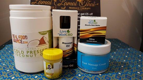 Organic coconut oil  Thaiger blam CBD oil / blam  Foot massage cream
