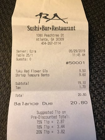 RA Sushi: 05-29-19 Great food & service!  And, a Tip Calculator that is accurate!!!!  That's a rarity.