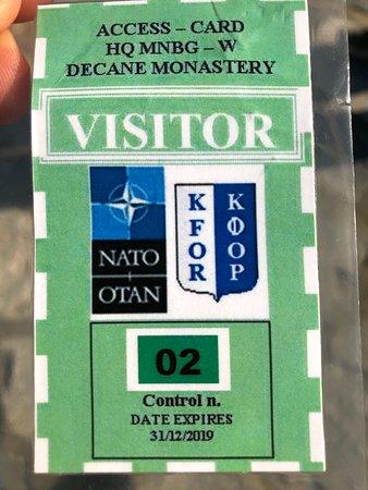 Decan, كوسوفو: Permesso per accedere al monastero di Visoki Decani