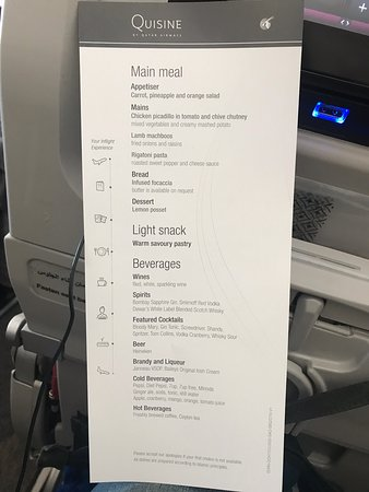 Qatar Airways: August 2019 meals