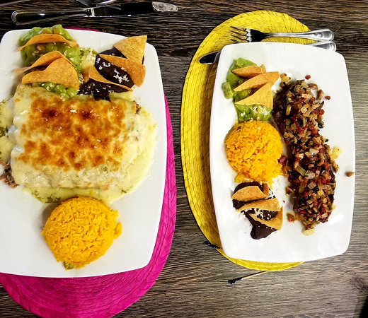 Enchilada and steak entrees