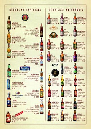 Carta de cervejas especiais e artesanais.