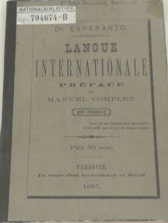 Grammatica esperanto 1° edizione 1887