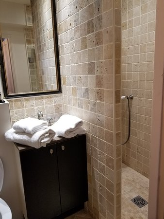 Small bathroom with nice large shower