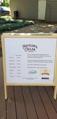 Rockfield, KY: Sandwich board of their wines