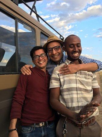 5 Days: Manyara, Serengeti And Ngorongoro Camping Safari.: Us with Paul Maleti, our guide, in Serengeti.