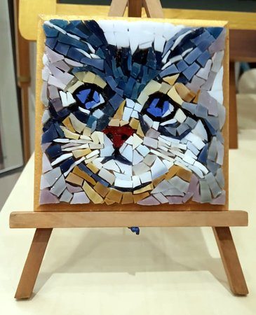 Mosaic,kitten,handmade by Mosaics24 in Chanioti Chalkidiki,Makedonia,Greece
