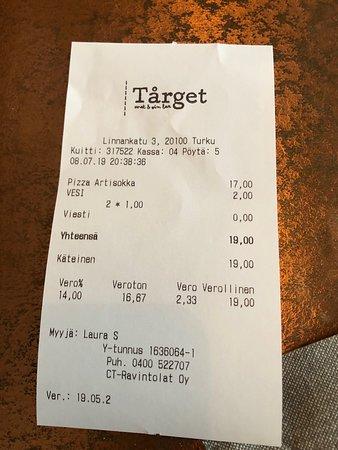 Tårget Mat & Vinbar: чек, Внимание всех ВОДА в счёте!!! 1. Воду не заказывали, 2. За воду берут деньги, отвратительно!!!  8.07.2019