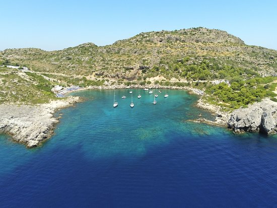 Day Cruise by a Sailing Yacht to the most beautiful bays or Rhodes (Small Group): drone pic
