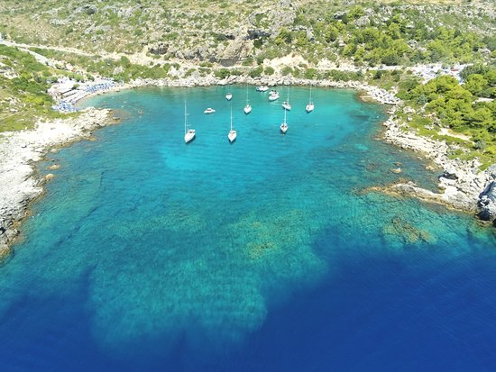 Day Cruise by a Sailing Yacht to the most beautiful bays or Rhodes (Small Group): photo from drone