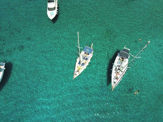 Day Cruise by a Sailing Yacht to the most beautiful bays or Rhodes (Small Group): photo of boat from drone