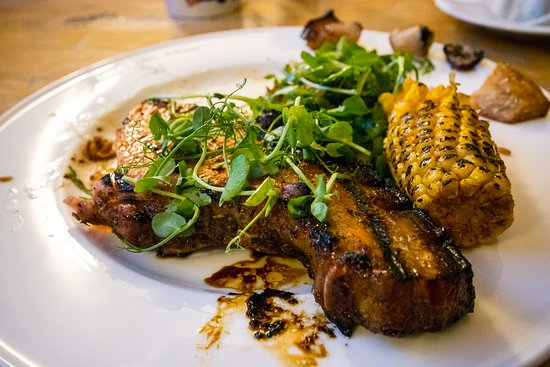 Ever had a Bacon Chop?!  Well. Nor me til our chef introduced it to the Swan. Just incredible. From the secret rub to the char grilled, herbed corn on the cob.