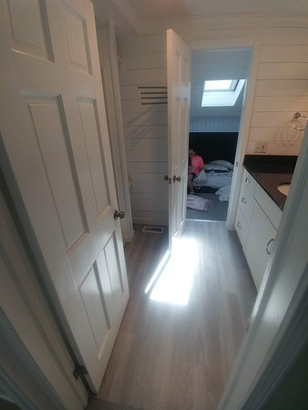 """The shared bathroom between the two rooms. It was a little tricky navigating the bathroom situation b/c you have to exit the """"kids'"""" bedroom via the bathroom."""
