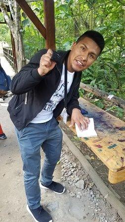 Stamping my passport at Machu Picchu!